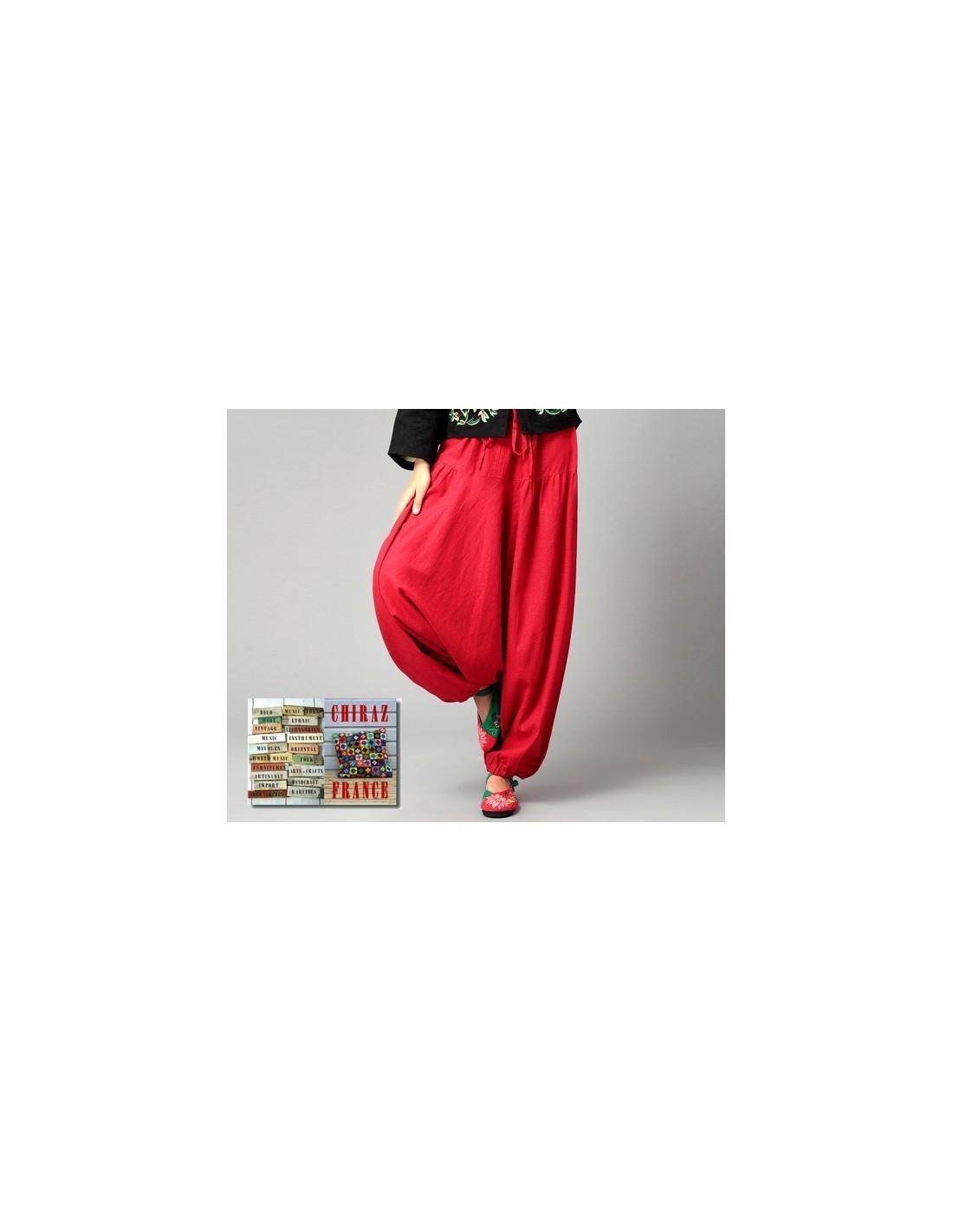 pantalon large sarouel rouge lin samoura yoga boho ethnique folk. Black Bedroom Furniture Sets. Home Design Ideas