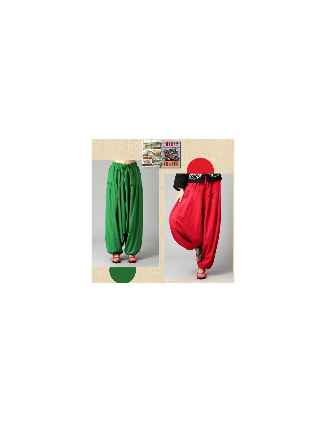 Pantalon large sarouel VERT LIN samouraï yoga boho ethnique folk