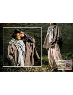 Tunique top GRIS LIN oversize rebrodé géométrique déstructuré manches jersey coton esprit japonais