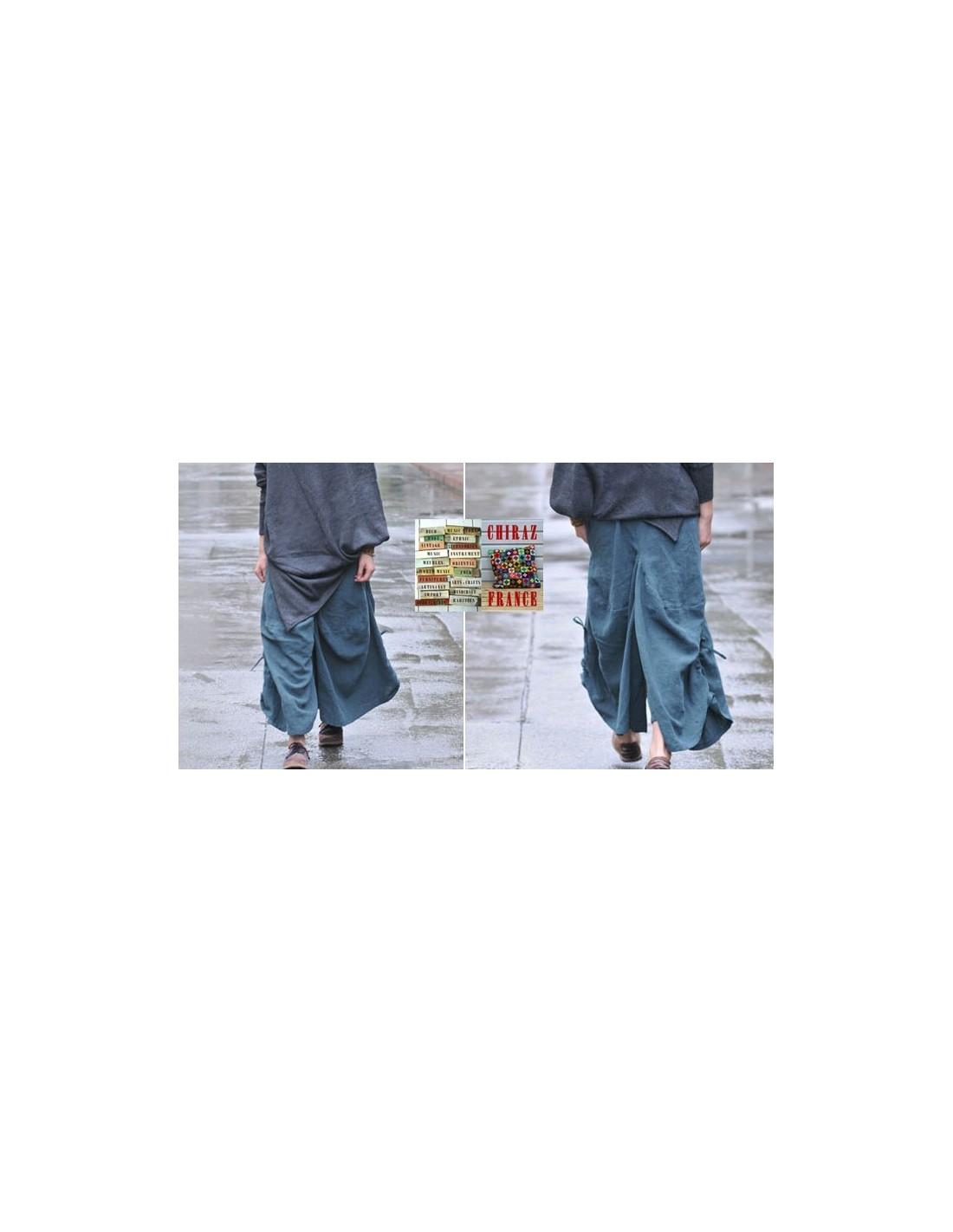 pantalon bloomer baggy lin bleu gris thick bourgeon extralarge boho ethnique cr ateur d structur. Black Bedroom Furniture Sets. Home Design Ideas