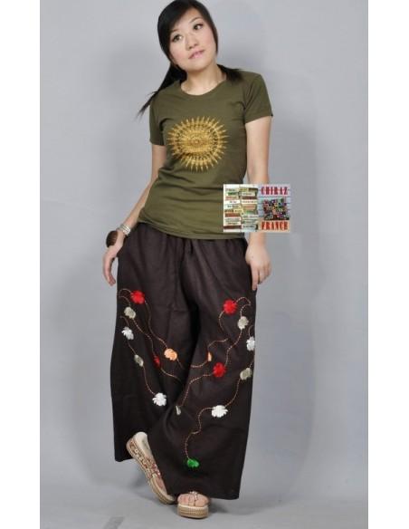 Pantalon large broderie pompons couleurs LIN MARRON