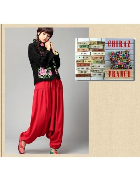 Pantalon large sarouel ROUGE LIN samouraï yoga boho ethnique folk