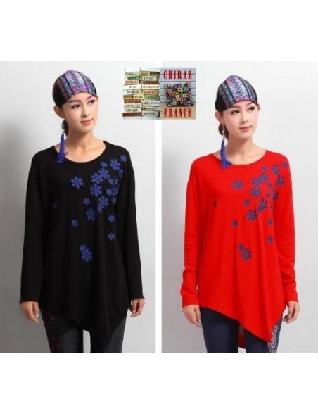Pull léger jersey fluide asymétrique noir ou rouge fleurs brodées