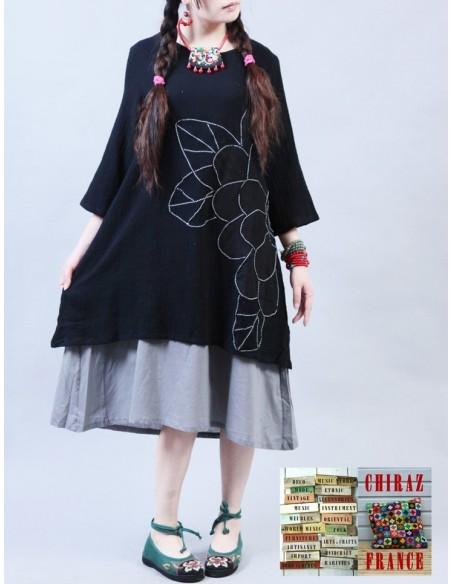 Tunique robe longue NOIR crêpe doublée brodée boho ethnique folk L XL NEUF