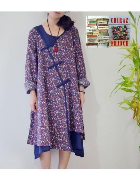 Tunique robe longue 2 pans superposés Liberty violet / bleu marine