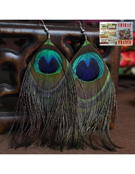 BO pendant Ethnique plumes paon 6 cm