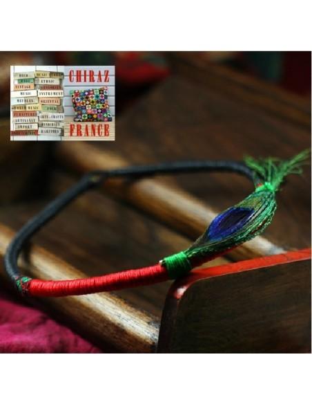 Collier ras du cou 43 cm en tissu et corde perles jade verte / noir
