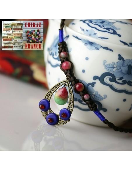 Collier Ethnique bronze, perles, émaux et cordes composition très ouvragée bleu et rose