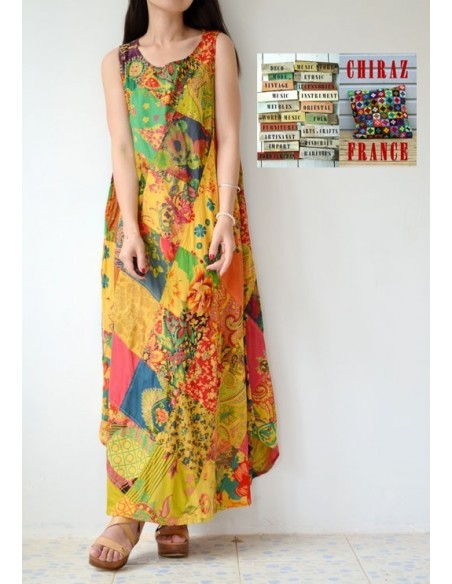 Robe longue ample coupe A PATCHWORK boho ethnique folk XL OCRE
