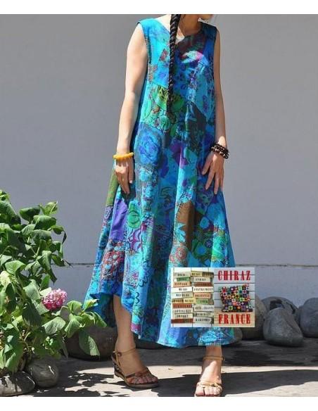 Robe trapèze longue ample coupe PATCHWORK boho ethnique folk XL BLEU
