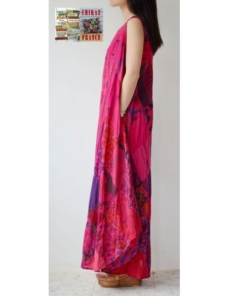 Robe trapèze longue ample coupe PATCHWORK boho ethnique folk XL ROSE