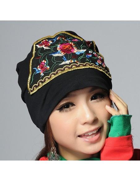 Bonnet NOIR coton extensible écusson broderie folk boho ethnique (turban chemo)