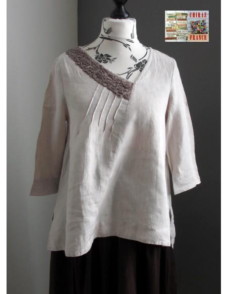Tunique top LIN brut BEIGE ou ÉCRU coupe trapèze demi col relief plis plats fentes boho ethnique