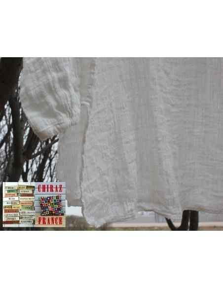 Tunique top gaze de LIN brut crêpe moutarde, blanc ou vert idéal superposition fentes boho ethnique