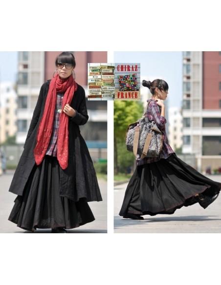 Jupe longue noire évasée coton spirale boho ethnique folk