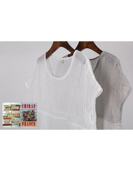 Tunique top LIN haut gaufré bas lisse BLANC ou TAUPE col V fentes manches courtes boho ethnique