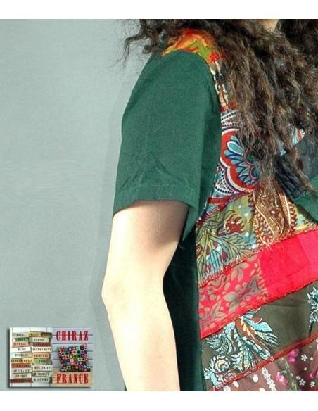 Tunique kaftan longue superposition LIN patchwork côté col biais noir