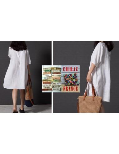 Tunique longue broderie relief tissu fleurs poches trapèze XL boho ethnique folk