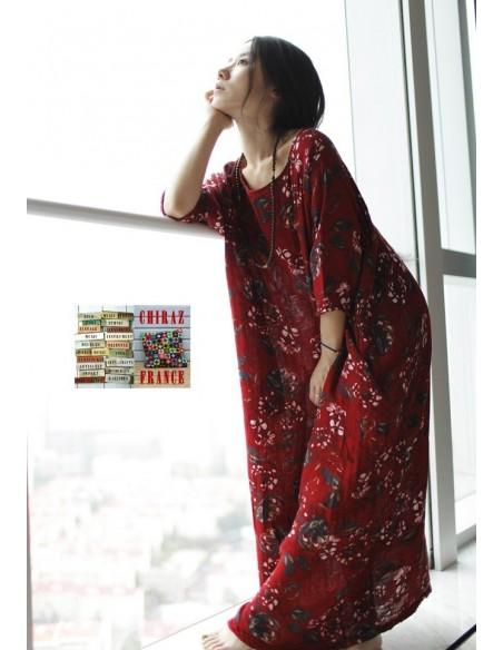 Robe longue coton gratté FLEURS coupe ample effet boule XL boho ethnique folk