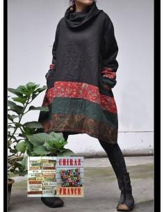 Tunique matelassée patchwork coupe noir
