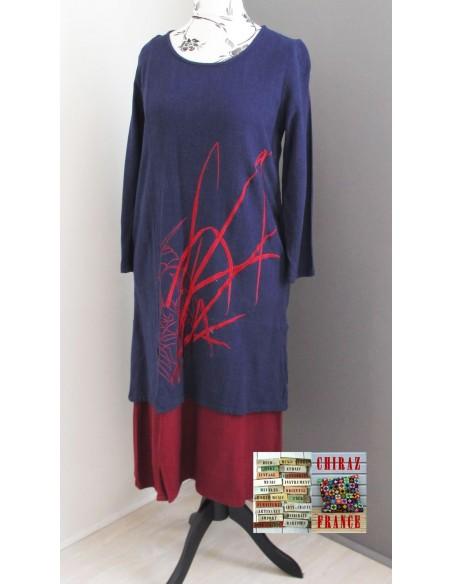 Robe longue LIN BLEU marine rebrodée bordeaux doublée fente taille souple effet ample boho ethnique folk