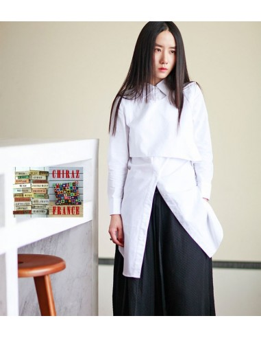 Chemisier strict blouse infirmier blanc popeline modulable créateur japonais 38-42