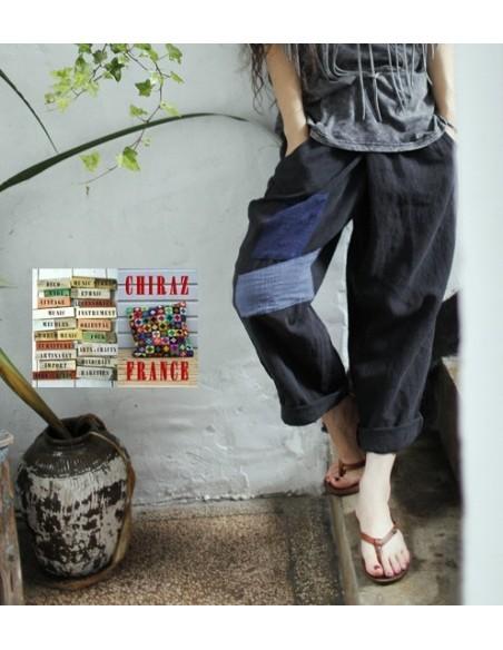 Pantalon baggy LIN NOIR thick pièces cousues boho ethnique créateur déstructuré