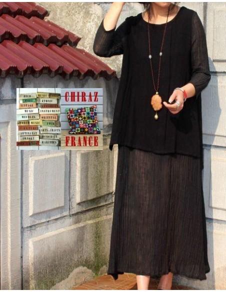 Robe longue LIN gaufré NOIR superposition et transparence boho ethnique folk