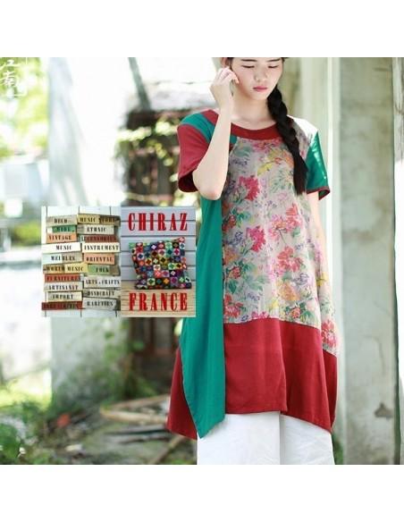 Tunique kaftan bords rouges longue trapèze chanvre vert ou bleu aplats fleurs boho folk
