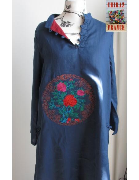 Tunique robe longue BLEU MARINE brodée double pans chanvre