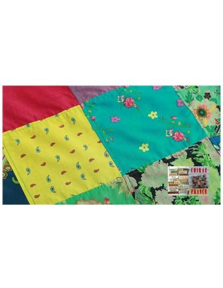 Tunique top patchwork coupe trapèze base arrondie poches débardeur boho ethnique