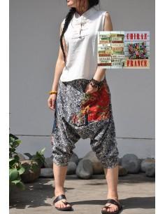 Pantalon large sarouel cachemire coton grande poche tissu traditionnel fleuri camaïeu boho ethnique folk