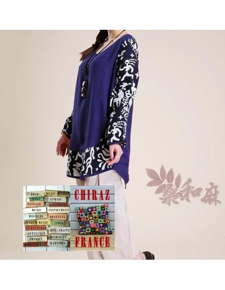 Tunique bleu lin et chanvre patchwork tissu ethnique boho