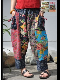 Pantalon ethnique sarouel tissus traditionnels coton patchwork LARGE boho folk