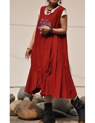 Robe bourgeon lin plis plats sans manche écusson broderie boho ethnique