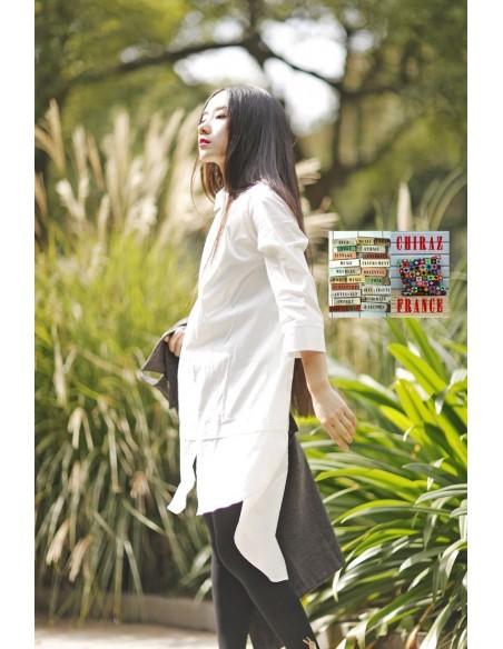 Chemise smocking blanc popeline classique revisité créateur japonais 42-44