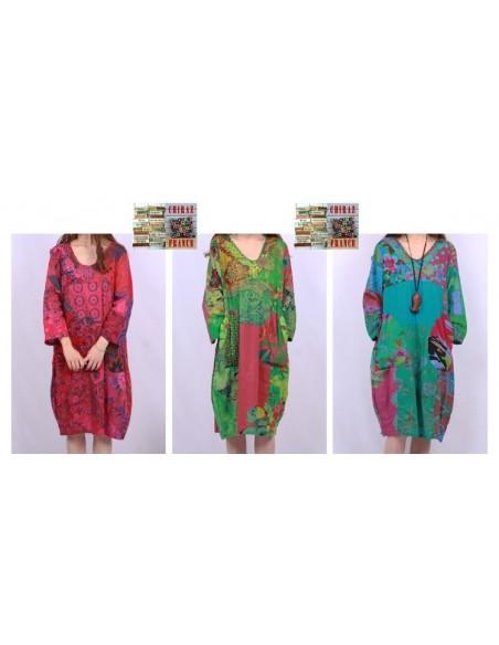 Tunique ou robe non doublée reteintée manches longues coupe tulipe PATCHWORK boho ethnique folk XL OCRE