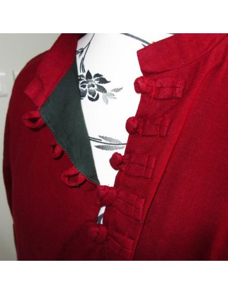 Tunique robe longue ROUGE brodée double pans LIN