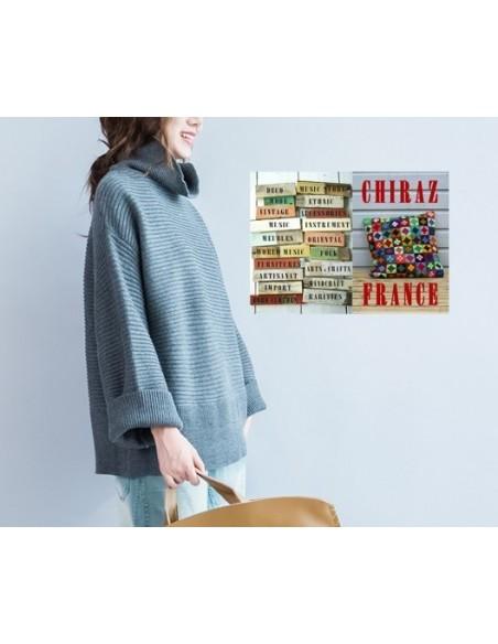 Pull côtes anglaises NOIR, PRUNE, GRIS, marinière ample manches kimono laine boho ethnique folk XL