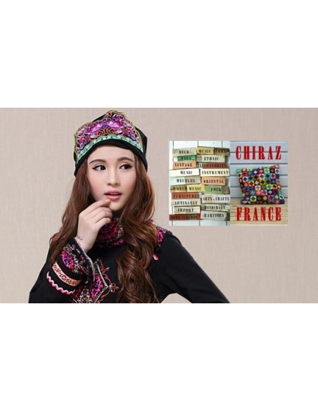 Bonnet NOIR coton extensible écusson rose broderie folk boho ethnique (turban chemo)