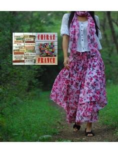 Jupe à volants déstructurée longue et large ROSE foulard assorti coton ample boho gipsy ethnique folk
