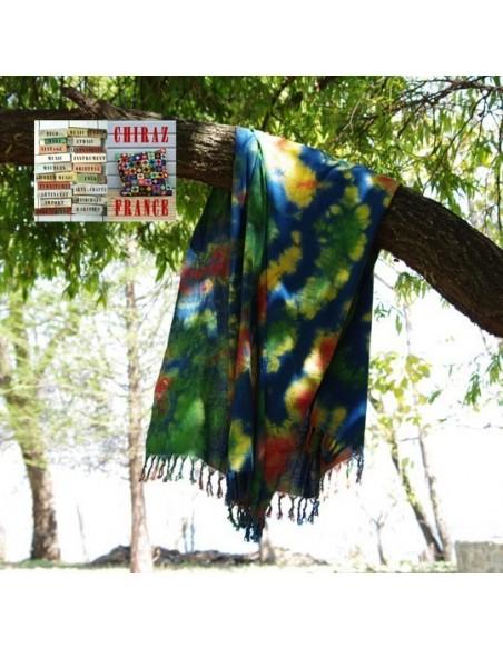 Étole plaid crêpe de coton tie and dye BLEU handmade ASIE 234 x 116 cm franges