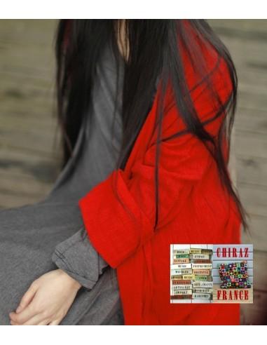 Chemise deux pans libres lin gaufré surveste lagenlook oversize rouge boho ethnique