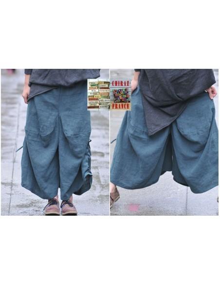 Pantalon bloomer baggy LIN BLEU GRIS thick bourgeon extralarge boho ethnique créateur déstructuré