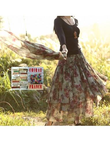 Jupe à volants déstructurée longue et large BEIGE KAKI foulard assorti coton ample boho gipsy ethnique folk