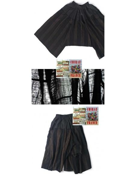 Pantalon bloomer baggy sarouel NOIR MARRON oversize extralarge boho ethnique créateur déstructuré