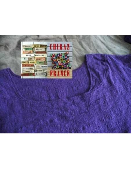 Tunique top LIN gaufré oversize encolure empiècement manches longues violet ou blanc 38 - 46
