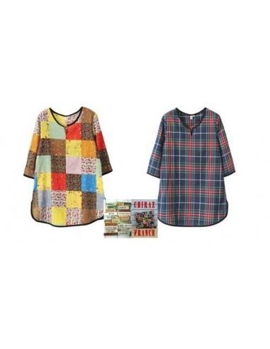 Tunique kaftan longue écossais ou patchwork écolier
