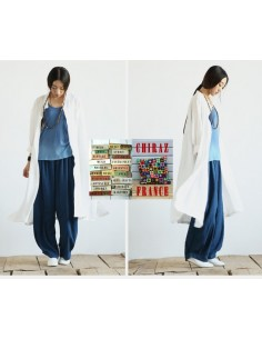 Pantalon long galon tricot baggy LIN BLEU thick bourgeon boho ethnique