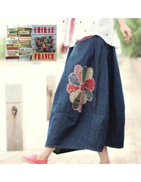 Jupe jeans style littéraire ROMANTIQUE fleurs vintage boho rebrodées coupe ample denim longue extra !